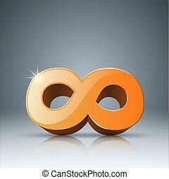 infinità, icon., realistico, giallo, 3d