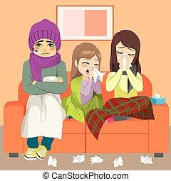 influenza, famiglia, divano
