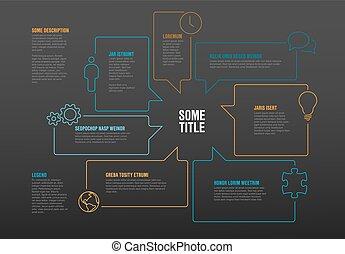 infographic, bolle, fatto, discorso, sagoma
