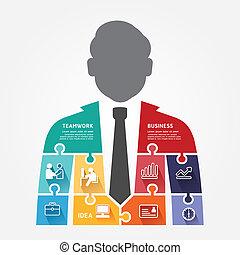 infographic, concetto, jigsaw, illustrazione, vettore, sagoma, uomo affari, bandiera