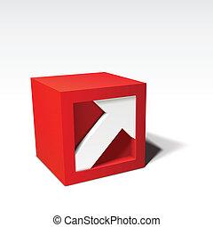 infographic, cubo, vettore, freccia, rosso, 3d