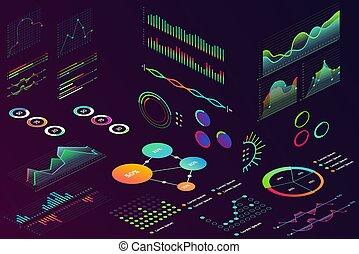 infographic., diagramma, moderno, colorare, finanza, 2d, dati, tabelle, grafico, isolato, statistica, neon, grafico, onde, stile, volumetrico, dati, affari, isometrico
