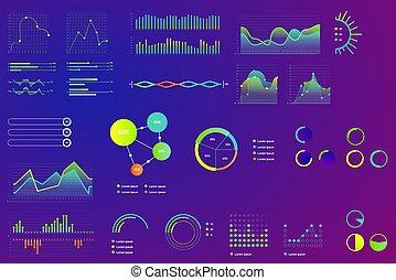 infographic., diagramma, moderno, grafico, colorare, isolated., finanza, 2d, dati, tabelle, grafico, statistica, neon, onde, stile, cruscotto, volumetrico, dati, affari