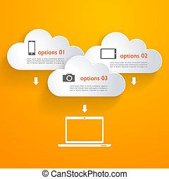 infographic, elementi, nubi, rete, icone