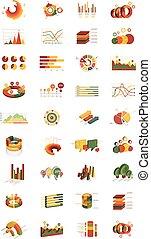 infographic, isometrico, set, diagrams., elements., moderno, differente, presentazioni, affari, grafici, vettore, disegno, style., tipi, 3d