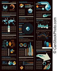 infographic, mappa, elementi, foglio, icone, grafici, scuro, indicatori, versione, così, frecce, lotto, mondo, on., disegno, use: