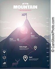 infographic, picco montagna, illustrazione, poligono