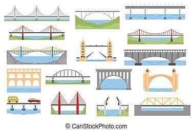 infographic, ponti, grafico, colorare, set., elementi, disegno, tipi
