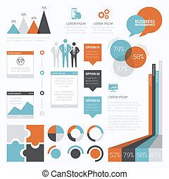 infographic, set, e, retro, affari