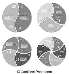 infographic, set, rotondo