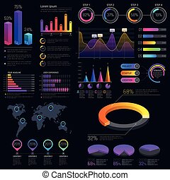 infographic, statistica, finanza, moderno, tabelle, grafici, vettore, sagoma