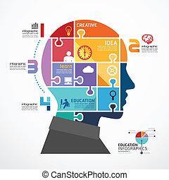 infographic, testa, concetto, jigsaw, illustrazione, vettore, sagoma, bandiera