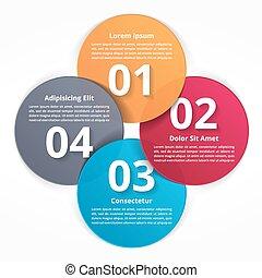 infographics, passi, quattro