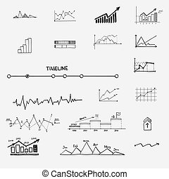 infographics, ricerca, statistica, finanza, affari, profitto, soldi, -, frecce, grafico, mano, grafico, concetto, guadagni, scarabocchiare, disegnato, elements., segni