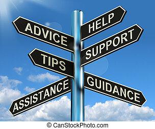 informazioni, aiuto, signpost, consiglio, sostegno, punte, guida, mostra