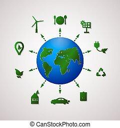 informazioni, appartamento, grafico, illustration., vettore, pianeta, ecologia, verde, design.