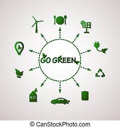 informazioni, appartamento, grafico, illustration., vettore, pianeta, ecologia, verde, disegno