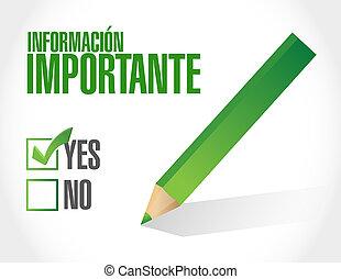 informazioni, approvazione, importante, segno, spagnolo