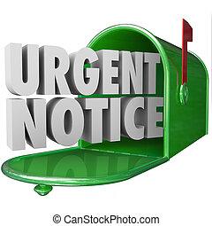 informazioni, avviso, urgente, critico, mailbo, posta, messaggio, importante