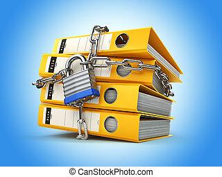 informazioni, catena, intimità, lock., protection., security., cartella di file, dati
