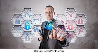 informazioni, chiusura, uomo affari, assicurare, serratura