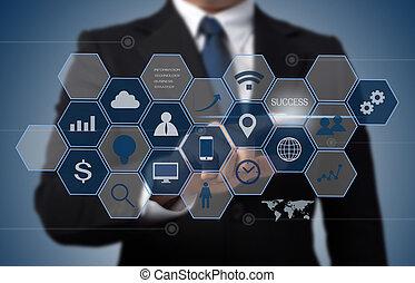 informazioni, concetto, affari, lavorativo, moderno, computer, interfaccia, tecnologia, uomo