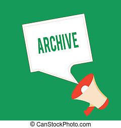 informazioni, concetto, archive., testo, collezione, scrittura, dischi, significato, documenti, storico, scrittura, fornire