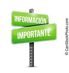 informazioni, importante, strada, spagnolo