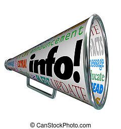 informazioni, informazioni, aggiornamento, allarme, bullhorn, megafono