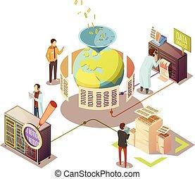 informazioni, isometrico, elaborazione, disegno