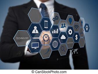 informazioni, lavorativo, affari, moderno, interfaccia, calcolatore uomo, tecnologia, concetto
