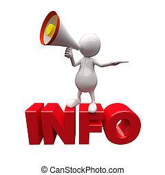 informazioni, megafono, parola, 3d, persone