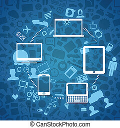 informazioni, moderno, fili, aggeggi, fransfer, attraverso
