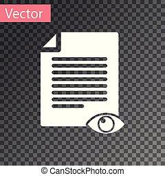 informazioni, occhio, simbolo, isolato, illustrazione, pagina, carta, fondo., vettore, file, segno., bianco, aperto, trasparente, icona