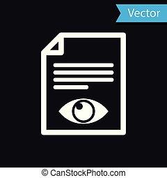informazioni, occhio, simbolo, isolato, illustrazione, pagina, carta, fondo., vettore, nero, file, bianco, aperto, segno., icona