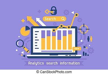 informazioni, ricerca, linea, analytics
