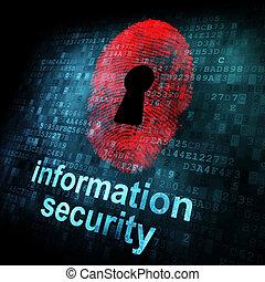 informazioni, schermo, digitale, sicurezza, impronta digitale