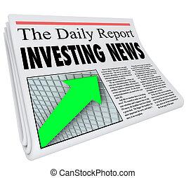 informazioni, titolo, soldi, carta quotidiana, relazione, notizie, investimento