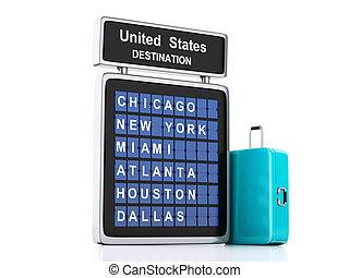 informazioni, viaggiare, fondo, board., stati uniti, aeroporto, 3d, bianco