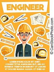 ingegnere, architector, tools., vettore