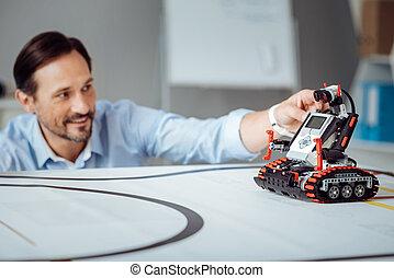 ingegnere, positivo, analisi, robot, professionale