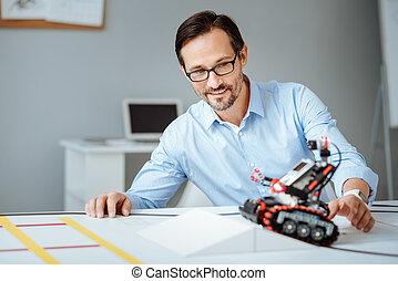 ingegnere, professionale, analisi, robot, gioioso