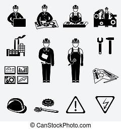 ingegneria, set, icone