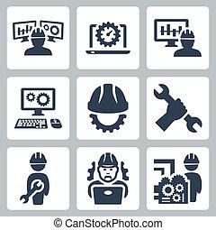 ingegneria, vettore, set, icone
