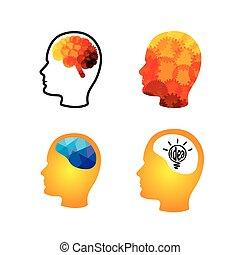 ingegnoso, testa, cervelli, creativo, vettore, icona