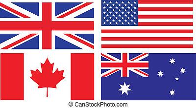 inglese, bandiere, parlante, paesi
