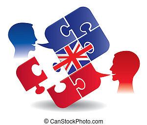 inglese, lezione, dialogo