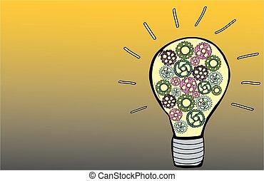 ingranaggi, bulbo, luce