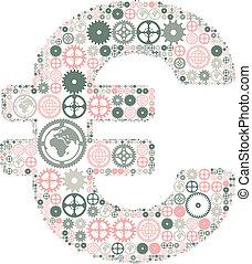 ingranaggi, fatto, colorato, segno euro