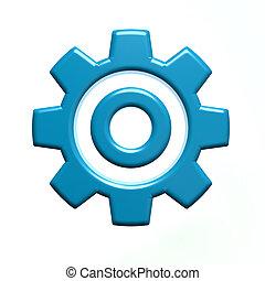 ingranaggio blu, isolato, singolo, fondo, bianco, 3d